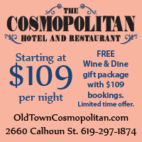 advertisement for special roomrate at Cosmopolitan Hotel and Restaurant